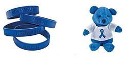 1 Blue Awareness Plush Bear + Free 1 Blue Silicone Awareness