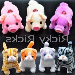 1 Walking Dog Pig Cat Toy Plastic Piggy Kitty Furry Cute Mec