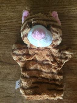 """11"""" Plush Tan And Brown Striped Cat Hand Puppet with Sound"""