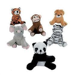"12 ASSORTED STUFFED ANIMALS 5"" Zoo Jungle Safari Plush #AA64"