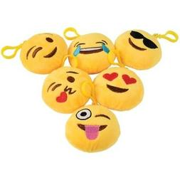 12 Emoji Smiley Faces Stuffed Plush Clips Toy Party Goody Lo