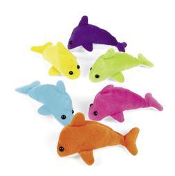 12 Mini Dolphin Plush Toys Colors Party Favors Prizes Birthd