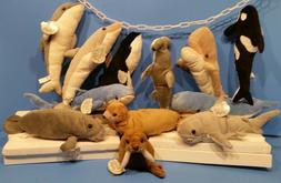 "12Pc SEA LIFE COLLECTION Plush Toy SHARK DOLPHIN 14"" Birthda"