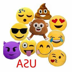 13 Inch Emoji Emoticon Pillow Round Yellow Stuffed Poop Emoj