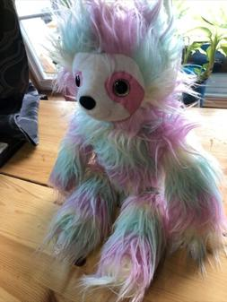 "18"" Rainbow Pastel Shaggy Sloth Plush Stuffed Animal by Hobb"