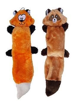 ZippyPaws Bundle of 2 Plush Dog Toys, With Squeakers, No Stu