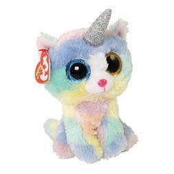 "2018 Ty Beanie Boos 6"" HEATHER UniCat Unicorn Cat Stuffed An"