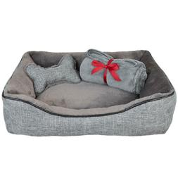 """25""""x19"""" - 3 Pc Dog Bed Gift Set  w Plush Bone Toy Throw Blan"""