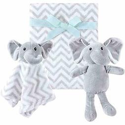 3 Piece Baby Bedding Plush Toy Blanket Set, Gray Elephant, O