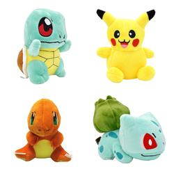 4PCS Set Pokemon Plush Toys Pikachu Bulbasaur Squirtle Charm