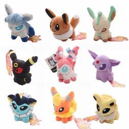 5''Pokemon Plush Toy Doll Eevee Leafeon Umbreon Jolteon Sylv