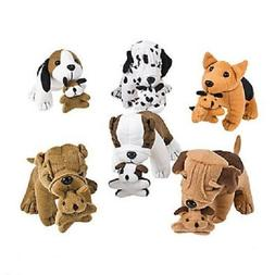 6 Count Plush Dogs Holding Puppies Birthday Favors Toy Prize