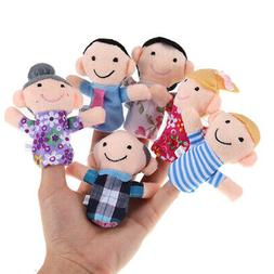 6 Pcs Family Finger Puppets Set Baby Kids Play Game Plush Cl