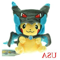 "9"" Pokemon Blue Mega Pikachu Charizard Hat Pocket Monster Pl"