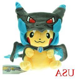 "9"" Pokemon Blue Mega Pikachu Charizard Hat Pocket Monster Pl"