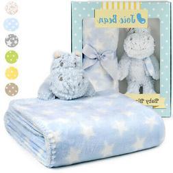 Baby Security Blanket Set with Plush Animal Soft Plush Fleec