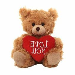 Brown Teddy Bear Heart Pillow Plush Stuffed Animals Kids Toy