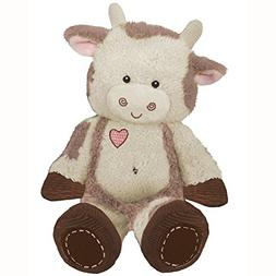 "First & Main 8"" Plush Stuffed Cow, Brown on White"