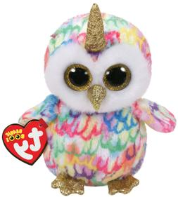 "TY Beanie Boos 6"" ENCHANTED Unicorn Owl w/ Horn Plush Stuffe"