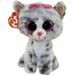 "Ty Beanie Boos 6"" Kiki the Grey Cat Stuffed Animal Plush MWM"