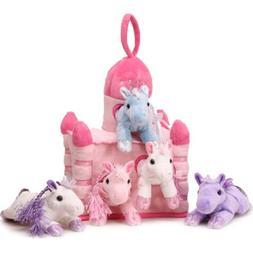 "Unipak 12"" Pink Plush Horse Castle - 5 Stuffed Animal Horses"