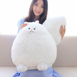 Winsterch Fluffy Giant Cat Stuffed Animal Toy White Plush Ca