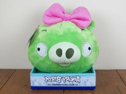 "Angry Birds Girl Bow Green Pig 8"" Plush Stuffed Doll Bad Pig"