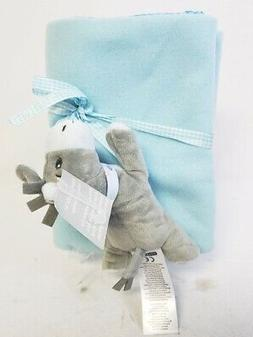 Baby Blanket w/ Donkey Plush Toy Set Light Blue