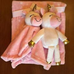 Hudson Baby Cuddly Gift Set Pink Blanket Plush Unicorn Toy a