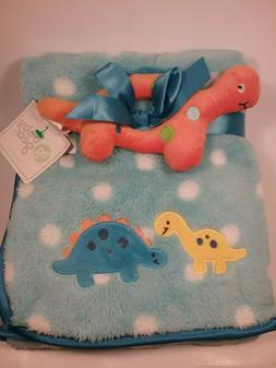 Baby Gear New Plush Dinosaur 2 Pc Baby Blanket Satin Trim Lo