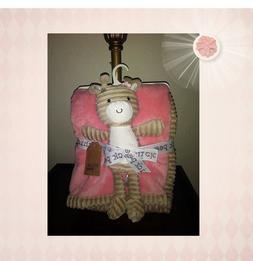 Chick Pea Baby Girl Pink Blanket Beige Giraffe Plush Toy Set