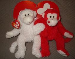 Ty Beanie Babies Cheek to Cheek - White and Red Monkey Pair