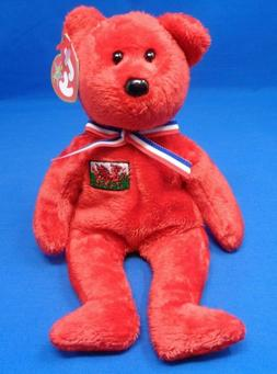 "Ty Beanie Baby ~ WALES the Red Bear ~Plush Beanbag Toy ~8"" ~"