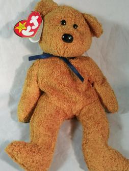 """Ty Beanie Baby Original """"Fuzz"""" Bear Plush Stuffed Toy Born J"""