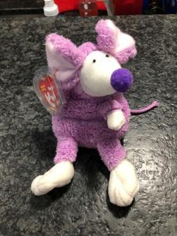 Ty Beanie Baby Ratzo the Purple Rat MWMT Retired Plush Anima