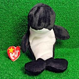 Ty Beanie Baby Waves The Orca Whale 1996 Retired Plush Toy M