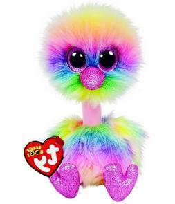"TY Beanie Boos 6"" ASHA Rainbow Ostrich Plush Stuffed Animal"