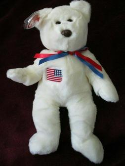 "Ty Beanie Buddy Libearty The Bear Soft Toy Plush 13"" Tall  M"