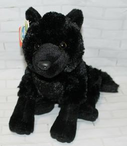 "Wild Republic BLACK WOLF 12"" Sitting Plush Cuddlekins Stuffe"