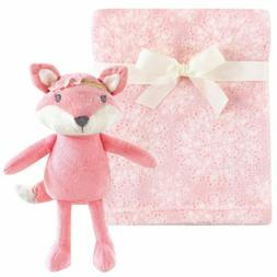 Hudson Baby Blanket 30x36 w/ Fox Plush Toy Set Pink New with