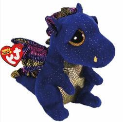 """Blue Dragon 6"""" Ty Beanie Boos Puppy Glitter Big Eyes Plush S"""