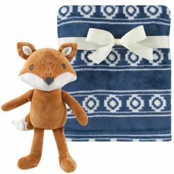 Hudson Baby Boy and Girl Plush Blanket with Plush Toy Set, M