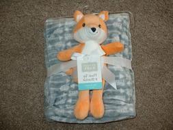 Hudson Baby Boys Plush Orange Fox Toy Fleece Gray Arrow Blan