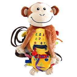 Busy Buckles Monkey Backpack - Plush Activity Learning Toy w