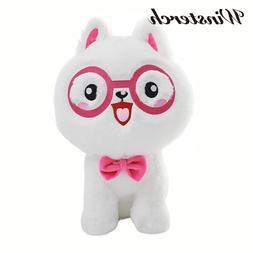 Cuddly <font><b>Plush</b></font> Stuffed Cat with Glasses <f