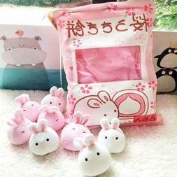 Cute Fluffy Bunny Pillow Bag with 8 pieces of Plushy