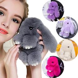 Cute Plush Bunny <font><b>Keychain</b></font> Women Fur Pom