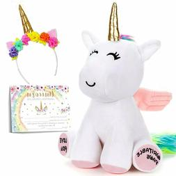 "Cute stuffed unicorn rainbow plush toy 10"", super soft and c"
