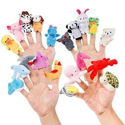 Oiuros 20pcs Different Cartoon Animal Finger Puppets Soft Ve