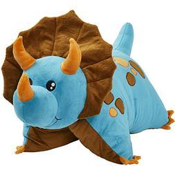 "Pillow Pets Triceratops Blue Dinosaur, 18"" Stuffed Animal Pl"